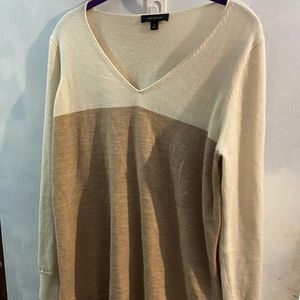 Cashmere Ann Taylor sweater tan and brown striped